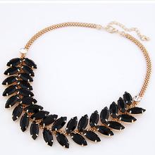 2014 summer new western fashion design  elegant foliage gem rhinestone  necklace choker jewelry for women black / Transparent(China (Mainland))