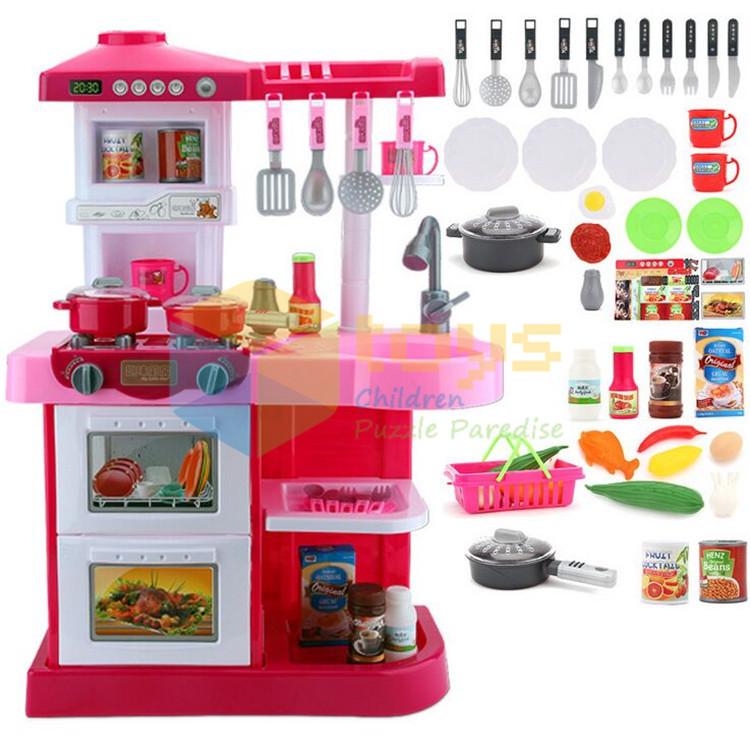 Simulation kitchen toys Girls game playsets Kitchen for children kitchen set baby kids toys furniture mixer Sound light(China (Mainland))