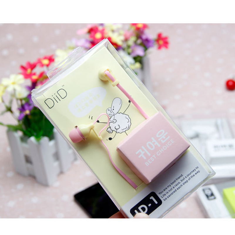 2016 Korean Version of the Candy-colored Hot DIID Sheep Ear Music Phone Headset For iPhone/ iPad/ Android Free Shipping O28(China (Mainland))