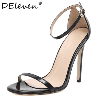 Fashion Classics Brand name ZA R Peep toe Buckle trap High Heels Sandals Shoes Woman Black White Red Wedding Shoes Factory US10