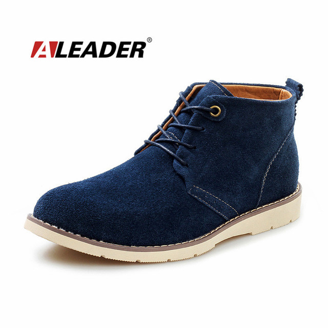 Aleader мужчины в замша сапоги обувь весна свободного покроя кожа ботинки для человека ...