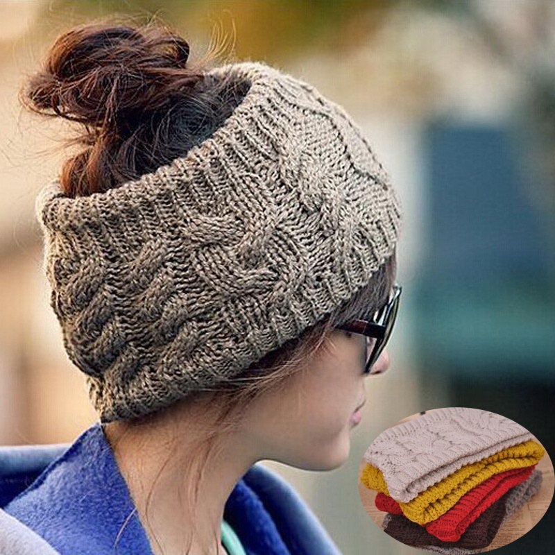 Fashion Casual Knitted Skull Beanie Warm HeadBand Lady Girl Winter Cap Headwrap Hat Black Coffee Red(China (Mainland))