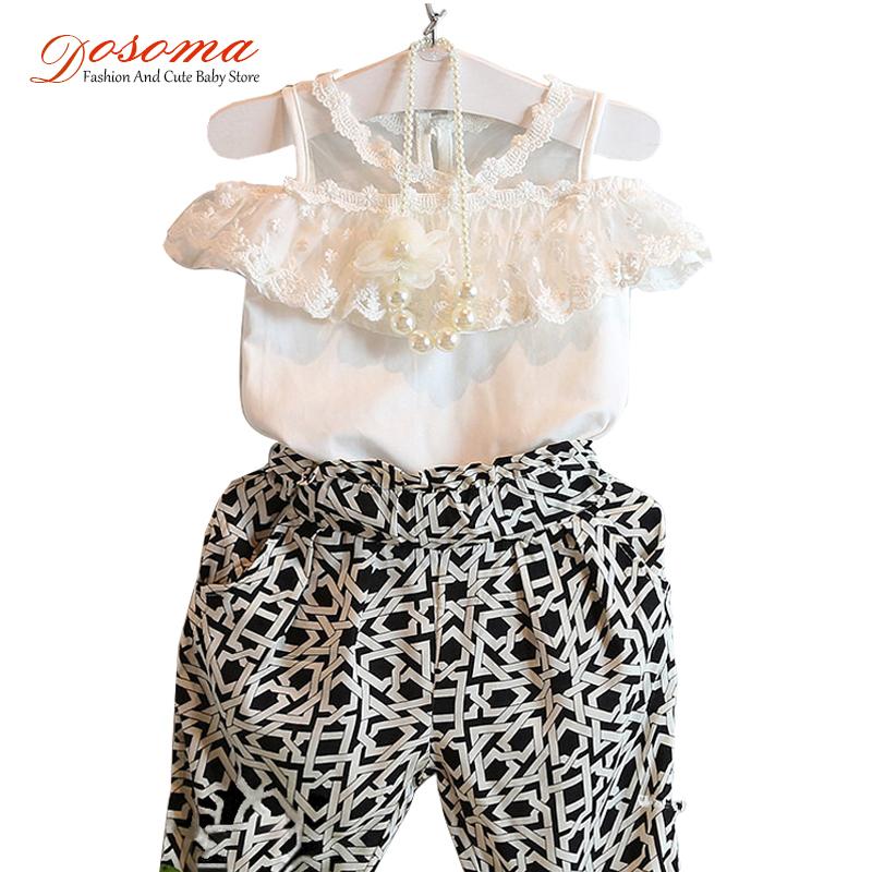 Summer style baby girls lace blouse shirts + fashion haren pants 2pcs clothes children clothing set kids roupas infantil meninas(China (Mainland))