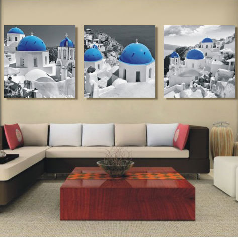 3 Panel Mediterranean Painting The Aegean Sea Home Decoration Canvas Painting Picture On Wall For Living Room Wall(No Frame)(China (Mainland))