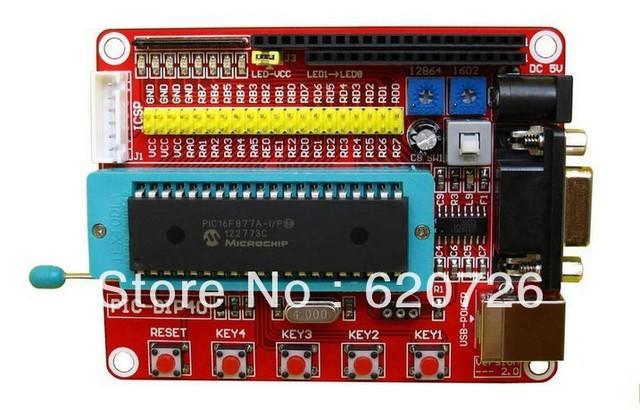 Microchip pic microcontroller minimum system development board PIC16F877A + USB CABLE