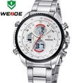 Weide 2015 Mens Watches Top Brand Luxury Quartz Watch LED Display Stainless Steel Band Water Resistant Auto Date Alarm WH3410