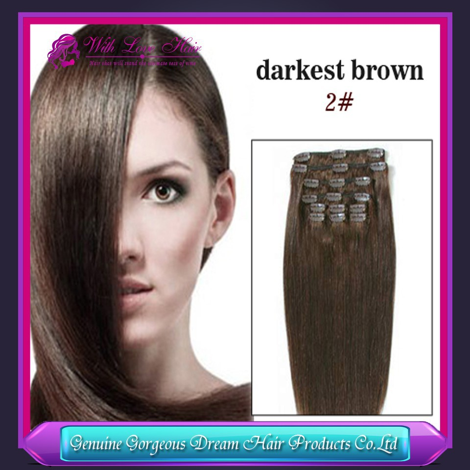Straight clip human hair extension,color 2 darkest brown 100% human hair 7pcs clip in hair extensions