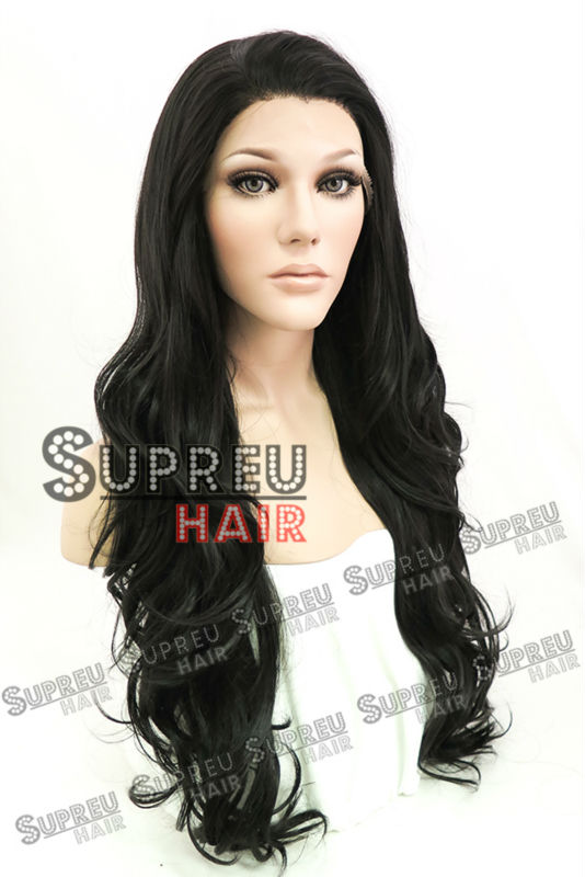 26 Long Wavy Natural Black Lace Front Wig Heat Resistant LW246<br><br>Aliexpress