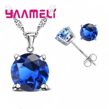 Classic Wedding Jewelry Cubic Zirconia Good Quality 925 Sterling Silver Jewelry Sets Stud Earring Pendant Necklace Set(China)