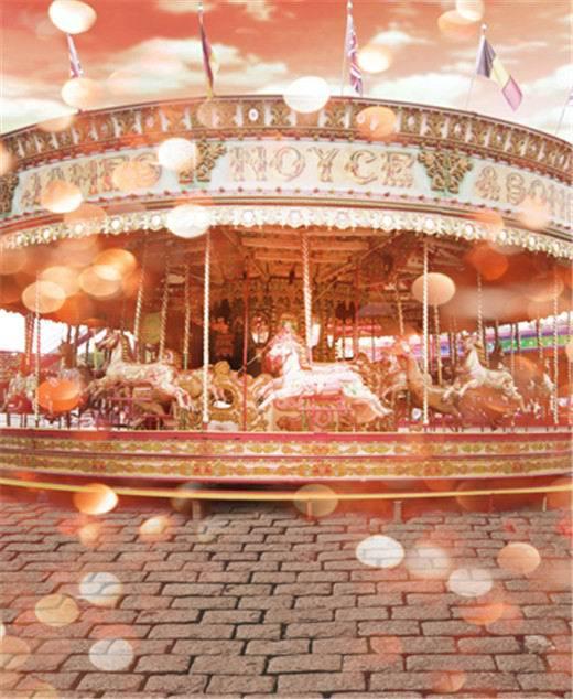 8x10FT Parque De Atracciones Parque Infantil Carrusel Carrusel de Oro Kids Niños Foto Telones Estudio Antecedentes Vinilo Personalizado 10x10(China (Mainland))