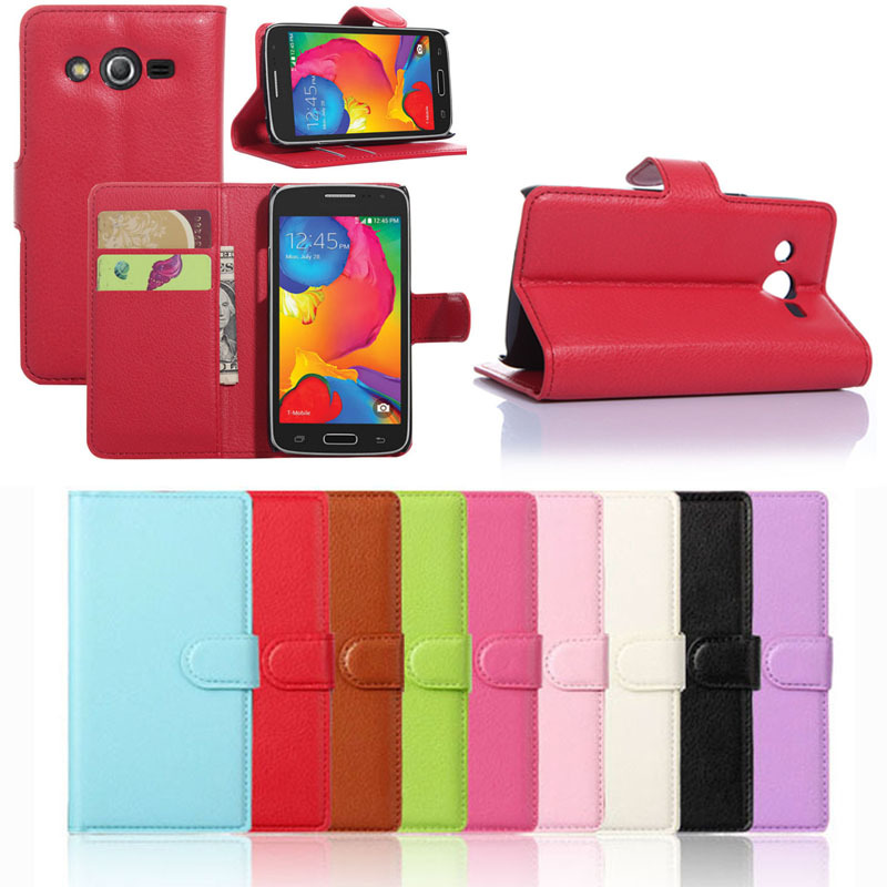 Scolour Leather Wallet Pouch Case Cover For Samsung Galaxy Core LTE SM-G386F Free shipping&Wholesale(China (Mainland))