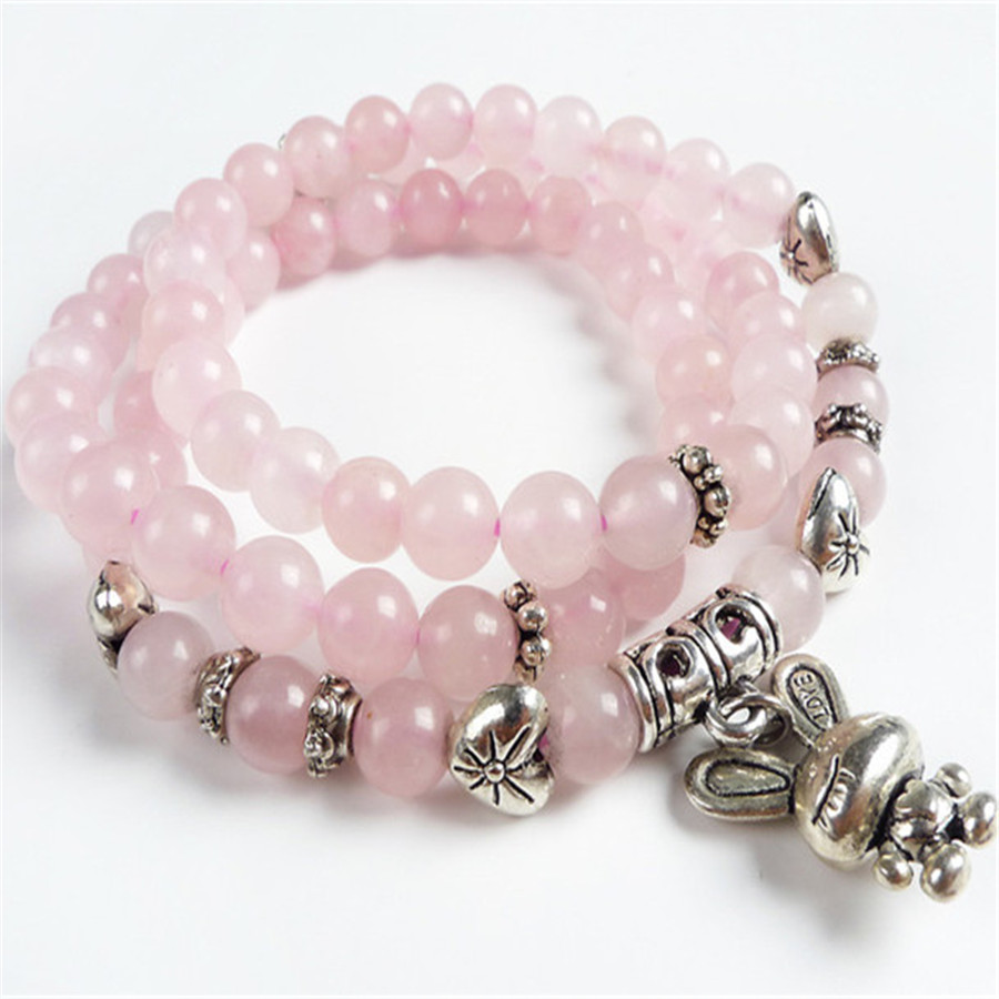 6mm Genuine Natural Rose Quartz Pink Crystal Round Beads DIY Three Times Silver Fashion Jewelry Charm Bracelets For Women(China (Mainland))