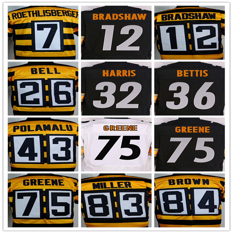Kualitas terbaik jersey, pria 7 Ben Roethlisberger 12 Terry Bradshaw 43 Troy Polamalu 50 Ryan Shazier 84 Antonio Brown elite jerseys(China (Mainland))