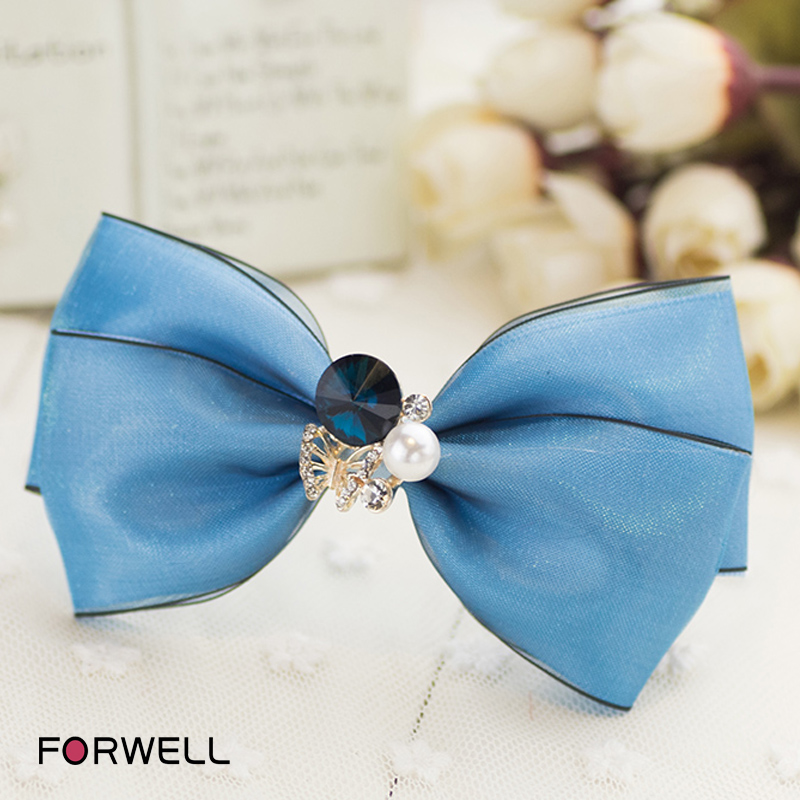 Palace style girls women hair clips hair accessories blue silk yarn compound bow knot hairpins headdress flower hair accessories(China (Mainland))