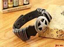 A hoop vintage cowhide circle Pentagram punk bracelet(China (Mainland))