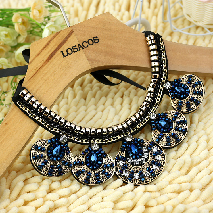 3 colors new fashion women vintage Crystal round beads kintted cloth gold chain Ribbon Fake collar Choker Necklaces(China (Mainland))