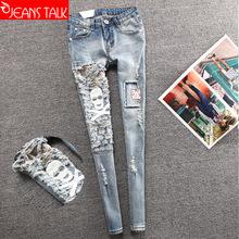 Frayed hole skull personal fashion clothing pencil pants feet explosion female trousers Europe female female jeans(China (Mainland))