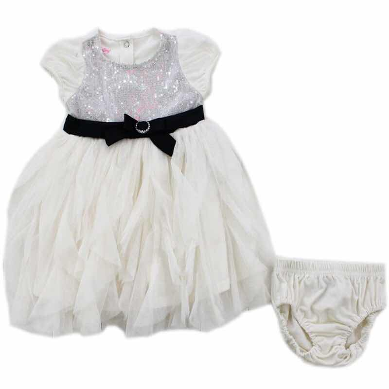 Orignal Brand 6Sets/lot 1-2 years baby girls dress and pants Set,white dress with sequins and underwear two pieces set<br><br>Aliexpress