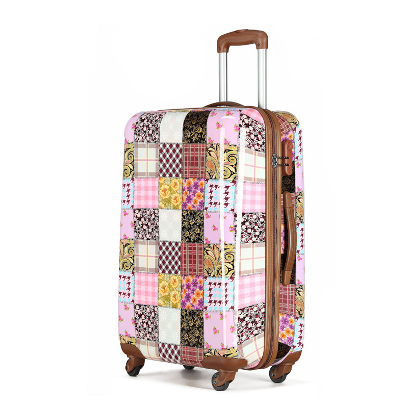 Garden Style,Grid, Fashion,Hardside,Spinner wheels,Polka,ABS,Rolling luggage(China (Mainland))