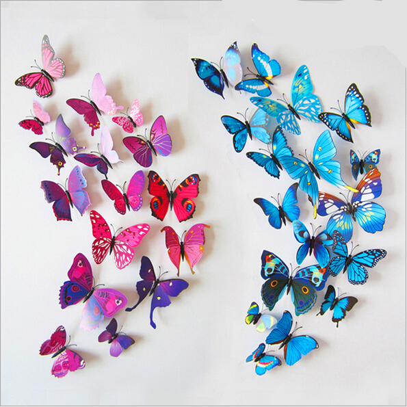Sticker Art Design Decal Wall Stickers Home Decor Room Decorations 3D Butterfly(China (Mainland))