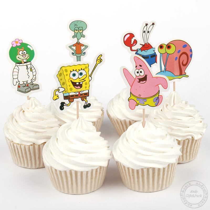 72pcs Event Party Supplies Cartoon SpongeBob Cupcake Toppers Pick Wedding Decoration Girl Kids Birthday Party Decoration(China (Mainland))