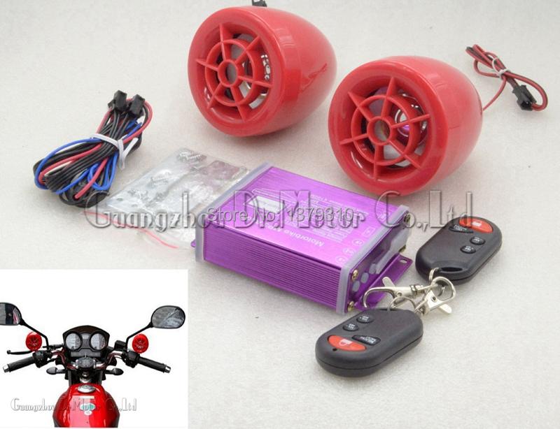 Wireless 2 remote control waterproof Motorcycle motorbike Scooter ATV anti-Thief alarm mp3 radio audio speaker for all Vehicle(China (Mainland))