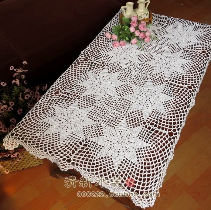 Free shipping lace cotton table runner for home fabric table cover sofa towel with flowers decoration handmade towel for table(China (Mainland))