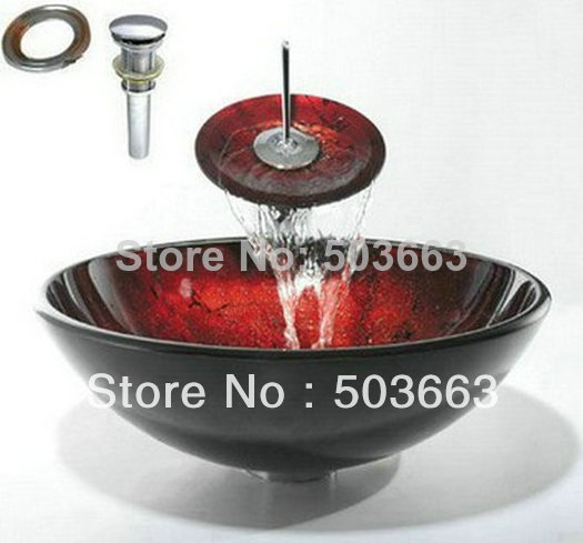Victory Black-Red Vessel Washbasin Tempered Glass Sink With Brass Faucet CM0115<br><br>Aliexpress
