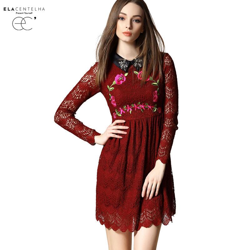 ElaCentelha Brand Summer Women Dress Cute Patchwork Lace Embroidery Full Sleeve Dress Mini Black Office Dresses                 Одежда и ак�е��уары<br><br><br>Aliexpress