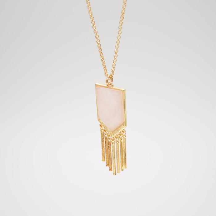 2016 new jewelry rectangle bar tassel necklace for women arrow pink natural stone long necklace