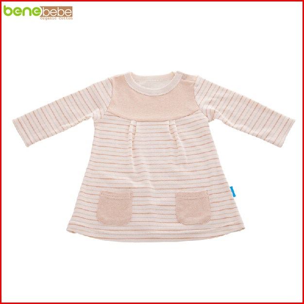 New In 2016 Summer Style Organic Cotton Baby Girl Dress Newborn Infant Long Sleeve Striped Clothing Vestidos Infantis Menina(China (Mainland))