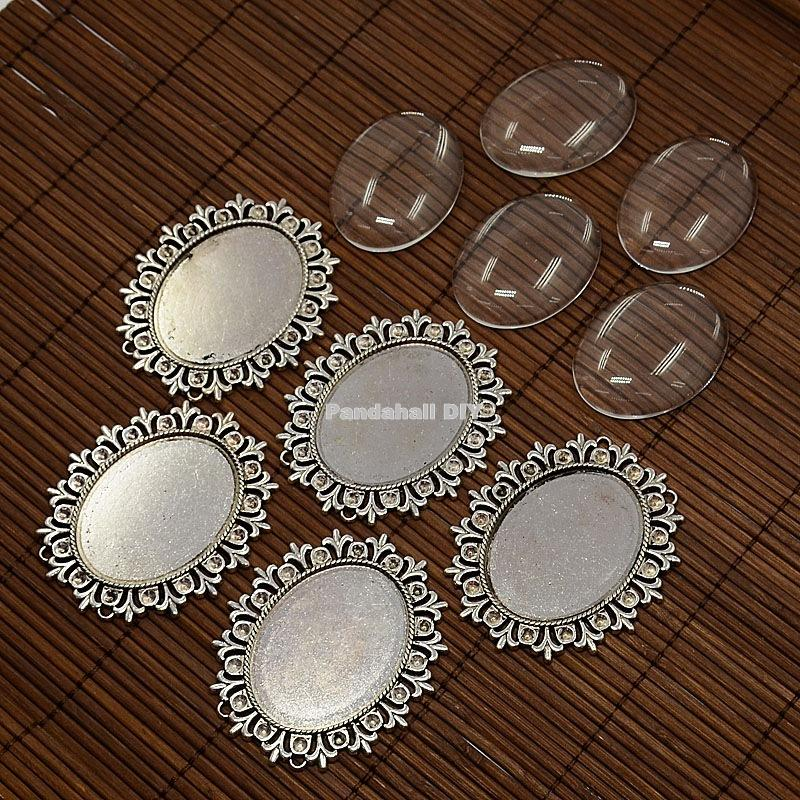 40x30mm Alloy Cabochon & Rhinestone Settings and Oval Clear Glass Covers Sets, Lead Free & Nickel Free, Antique Silver/ Golden(China (Mainland))