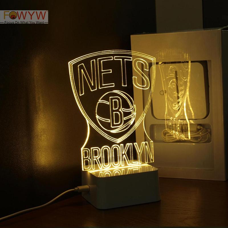 Free Shipping BROOKLYN NETS 3D Table Lamp Night Light NBA Basketball Player Laser Inscribe Acrylic LED Night Light Gift<br><br>Aliexpress