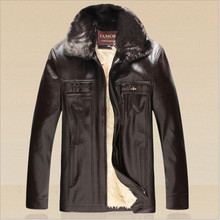 2015 New Winter Men Leather Coat Long With Fur Collar Detachable Wool Blend Lining PU Jacket Casual Outerwear Plus Size S-3XL