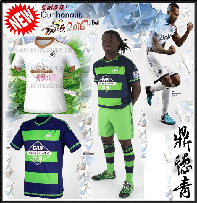2015 new Swansea city Away jersey 15 16 home white shirt logo WILFRIED WILLIAMS GOMIS BRITTON RANGEL football shirts camisa(China (Mainland))