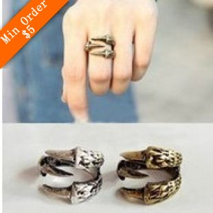 2015 New Fashion Hot Selling New Vintage Bird Claw Finger Texture Ring Lamp Cuff Gothic Punk Ring 66R668 66R669(China (Mainland))