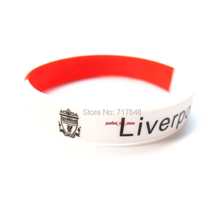 300pcs Segment Football Team Fans Liverpool wristband silicone bracelets free shipping by FEDEX express(China (Mainland))