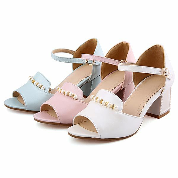 2015 summer new fashion peep toe thick heels solid color pearl high heels breathable and comfortable women shoesD1417<br><br>Aliexpress