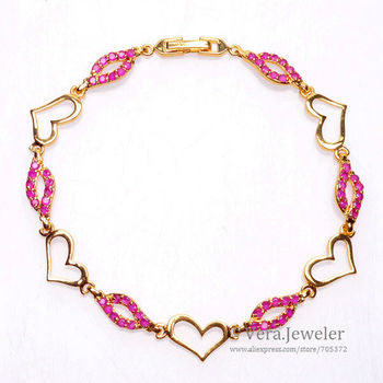 24KGP Yellow Gold Plated Heart Lip Link Gold Chain Ruby Red Bracelets for Women Fashion Jewelry Lovers Gift Packaging 21cm 8.27""