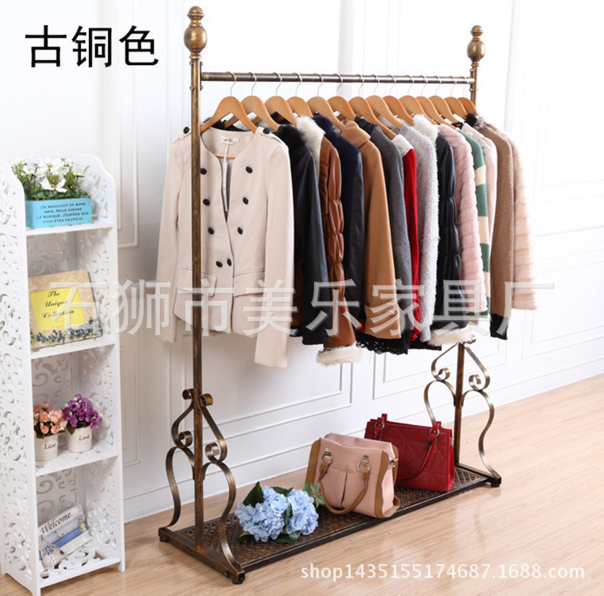 C Iron clothing rack clothing store display racks for hanging clothes rack clothing floor pendant shelf bracket(China (Mainland))