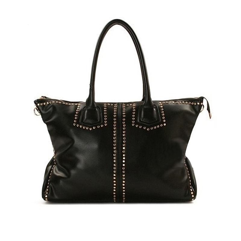 Black Vintage Elegant hobos Rivet Women's Handbag Leather Shoulder Bags Design High Quality Purse Zipper YM-008(China (Mainland))