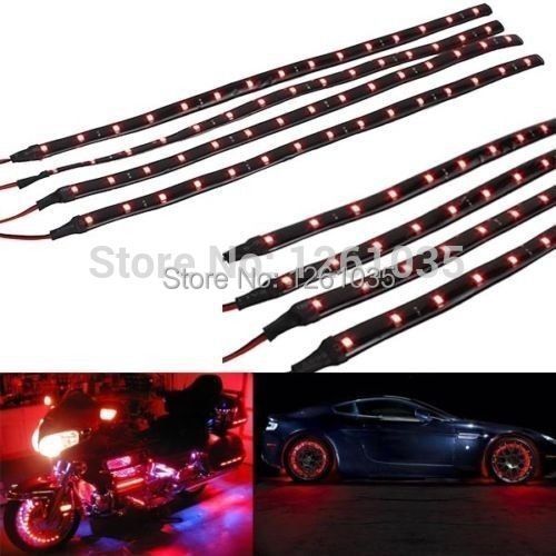 2015 10pcs New 15LED/30cm waterproof LED Strip 3528 12V DC SMD High Power Flexible LED Car Strips,white/blue/red/green/yellow(China (Mainland))