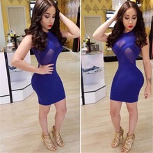 Buy Fashion Women Blue Patchwork Club Dress Bodycon See Sexy Party Dresses Knee Length Night Club Dresses Vestidos for $13.20 in AliExpress store