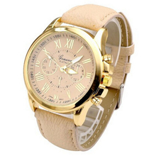 Essential Shock Resistant New Women's Fashion Dress Watches Geneva Roman Numerals Faux Leather Analog Quartz WristWatch