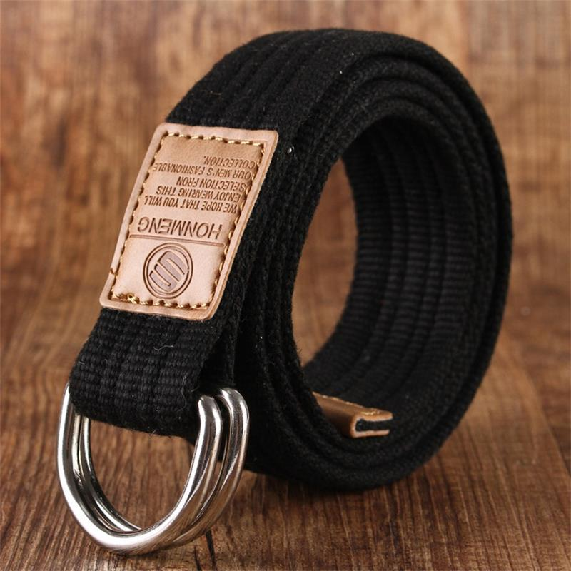 2016 double new ring canvas belt man casual canvas Belt Jeans woman double ring D type buckle fashion 18 belt color(China (Mainland))
