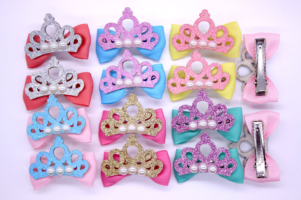 2pcs/1pair Mix Color Pet Dog Clip Crown Style Pet Dog Hair Clip Pet With Pearl Pet Dog Bows Grooming Accessories Free Shipping(China (Mainland))