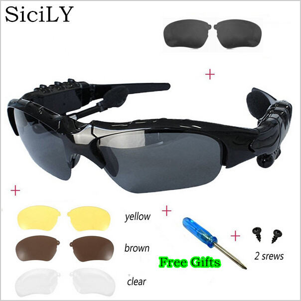 SiciLY Sport Stereo Wireless Bluetooth 4.0 Headset Telephone Driving Sunglasses/mp3 Riding Eyes Glasses With 3 colorful Sun lens(China (Mainland))