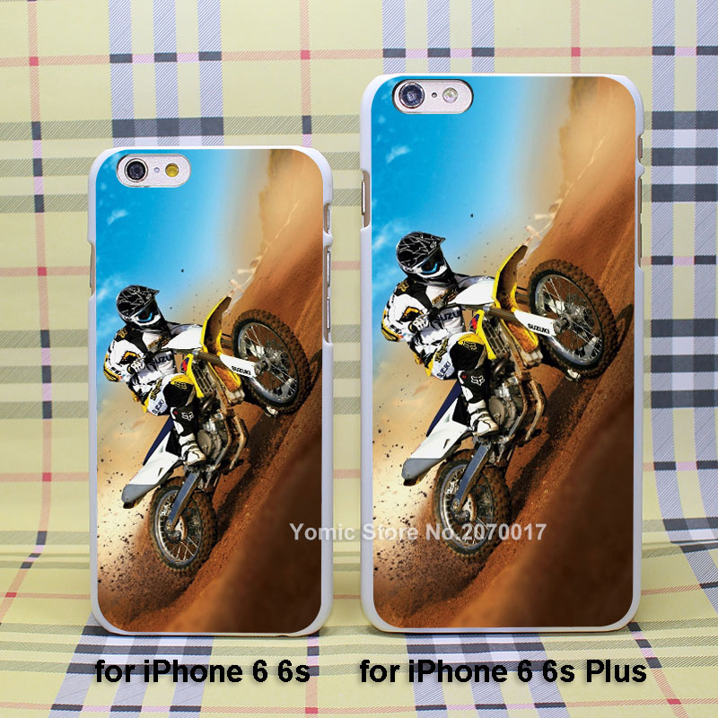 Moto Cross case cover for Apple iPhone 4/4s 5/5s 5c 6/6s 6Plus/6sPlus plastic white case(China (Mainland))