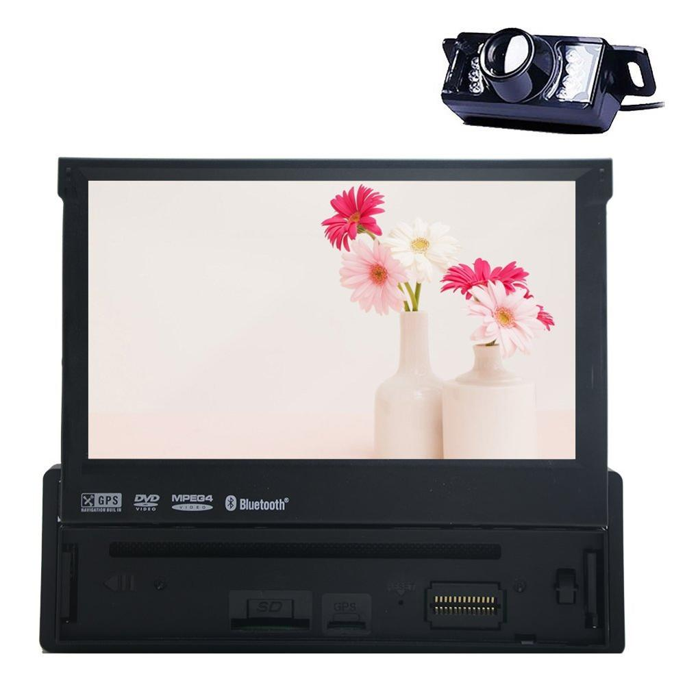 Single Din Car Stereo GPS Navigation DVD Player 1 Din Car Radio In Dash Headunit Built Bluetooth Car Audio Supports+Back Camera()