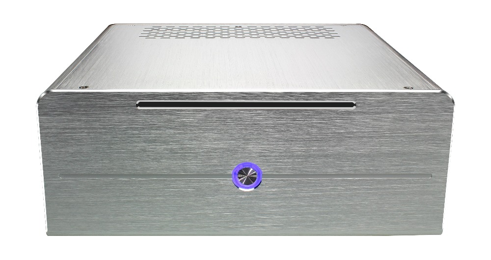 Realan industrial high quality oem mini htpc desktop case E-i7 CD-ROM slots aluminum black silver without power supply(China (Mainland))